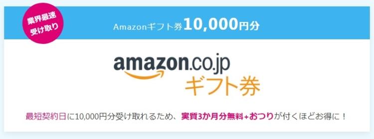 1万円分のキャッシュバック(Amazonギフト)