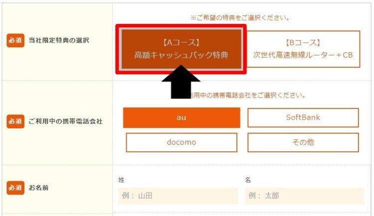 auひかりの申込み方法 キャンペーン選択、個人情報の入力 ※WEBの場合