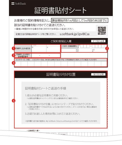 ソフトバンク光 証明書貼付シートの記入方法