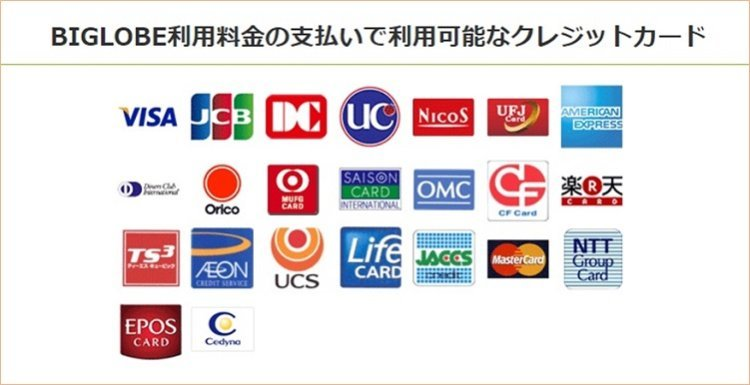 BIGLOBE利用料金の支払いで利用可能なクレジットカード